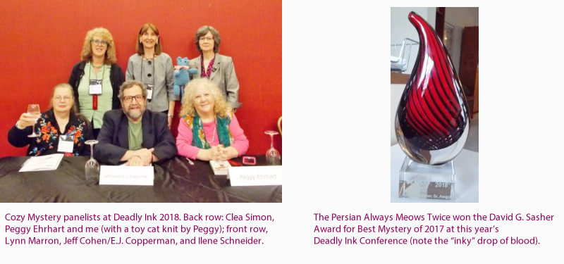 Cozy Mystery Panel, Deadly Ink 2018 - David G. Sasher Award, Best Mystery of 2017