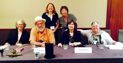 Members of the panel 'Jersey Boys…and Girls,' about mysteries set in New Jersey: Front row, left to right, Kate Gallison, Jeff Markowitz, me and Roberta Rogow; back row, S. A. Solomon and Jo-ann Lamon Reccoppa.