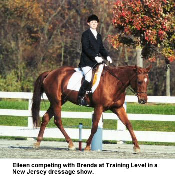 Eileen competing with Brenda at Training Level in a New Jersey dressage show.